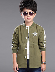 Boy's Wild Casual/Daily Patchwork Long Sleeve Sports Trench Coat
