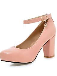 женская обувь пу коренастый пятки пятки / комфорт пятки офис&карьера / вскользь черный / розовый / фиолетовый / белый