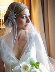 Wedding Veil One-tier Headpieces with Veil Cut Edge Tulle White White