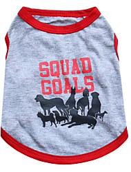 Gatos / Perros Camiseta Gris Verano Animal Moda, Dog Clothes / Dog Clothing-Other