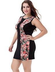 Women's Casual/Daily Street chic Plus Size Dress,Floral Round Neck Mini Sleeveless Black Polyester / Nylon