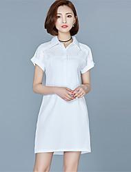 Women's Going out Street chic , Shirt Collar Above Knee Short Sleeve SummerShirt Dress
