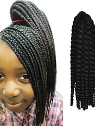 "Black 12"" Kid's Kanekalon Synthetic 2X Havana Mambo Twist 2 Tone 100g Hair Braids with Free Crochet Hook"
