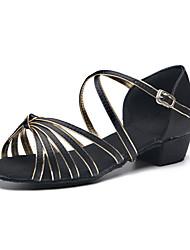 Kids' Dance Shoes Paillette Paillette Latin Heels Flat Heel Practice / Indoor Black