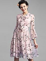 Baoyan® Femme Col en V Manches 3/4 Au dessus des genoux Robes-1600602