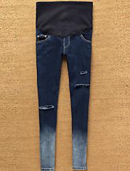 Maternidade Calças Maternidade Jeans Simples Com Stretch Algodão