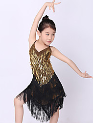 Kids' Dancewear Outfits Children's Performance Polyester / Metal Sequins / Tassel(s) 1 Piece Gold Latin Dance Sleeveless