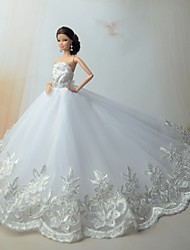 Wedding Dresses For Barbie Doll Silver / White Dresses