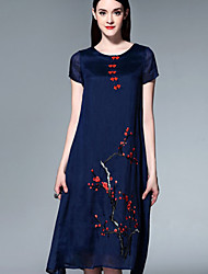 Boutique S Sophisticated Tunic Dress, Embroidered Round Neck Knee-length Short Sleeve Blue / White Silk Summer