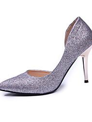 Damen High Heels Stretch - Satin Sommer Normal Paillette Stöckelabsatz Grau Rot Blau 7,5 - 9,5 cm