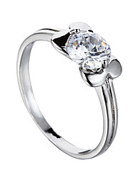 Sjeweler Ladies Platinum Plating White Zircon Bridal Ring Fashion Ring