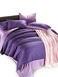 Solid Full Cotton 4PC Duvet Cover Sets