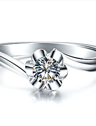 0.23CT Petal Style Solitaire Diamond Ring Elegant Engagement Women Silver 925 Brief Female Marriage Gift Affordable