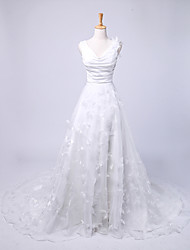 A-line Wedding Dress Chapel Train V-neck Satin / Tulle with Embroidered / Ruche