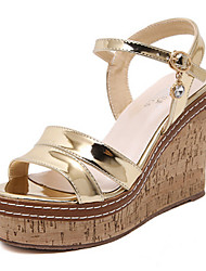 Women's Shoes PU Summer Wedges / Open Toe Sandals Dress / Casual Wedge Heel Sequin Silver / Gold