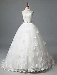 A-line Wedding Dress Sweep / Brush Train High Neck Tulle with Appliques / Beading / Sash / Ribbon