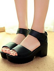 Women's Shoes Libo New Style Chunky Heel Peep Toe Sandals Office / Dress / Casual Black / White