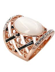 Anéis Fashion Pesta / Diário / Casual Jóias Liga / Zircão / Opala Feminino Anéis Grossos 1pç,8 Dourado / Prateado