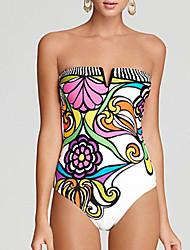 encantador floral sexy de uma peça swimwear das mulheres