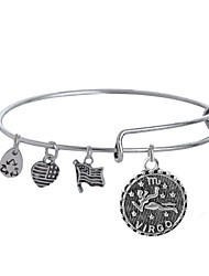 Bangles 1pc,Silver Bracelet Adjustable Love Bracelet Flag 12 Constellations Jewelry Charm Bracelet for Best Friend