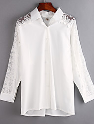 Mulheres Camisa Casual Simples Verão,Sólido Branco Algodão / Poliéster Colarinho de Camisa Manga Longa Fina