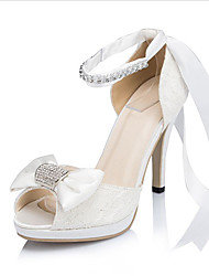Women's Sandals Spring Summer Platform Wedding Dress Party & Evening Stiletto Heel Platform Rhinestone Bowknot Ivory White