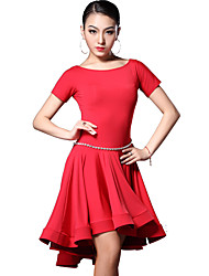 Latin Dance Dresses Women's Training Rayon Draped 2 Pieces Short Sleeve Natural Dress / Shorts M:77cm/L:78cm/XL:79cm/XXL:80cm