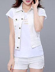 Women's Casual/Daily Street chic Spring Set,Solid Shirt Collar Short Sleeve Blue / Pink / White Cotton / Polyester Thin