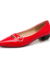 Women's Shoes Patent Leather Summer/ Pointed Toe Flats Office & Career / Casual Flat Heel Rivet Black / Red / Beige