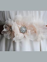 Satin / Satin / Tüll / Chiffon / Legierung Hochzeit / Party / Abend / Alltagskleidung Schärpe-Blumen / Strass Damen 220cm Blumen / Strass