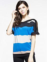 Damen Gestreift Übergröße / Street Schick Ausgehen T-shirt,Rundhalsausschnitt Sommer Kurzarm Blau / Rot / Orange Polyester Mittel