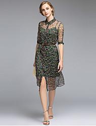 Women's Going out Simple Sheath Dress,Print Shirt Collar Knee-length ½ Length Sleeve Green Polyester Summer High Rise