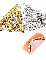 100pcs Premium Quality Set  5mm Gold And Silver Triangle Metal Studs Manicure Nail Art Decorations