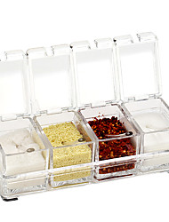 Oak®Seasoning Rack Spice Pots 4 Piece Acrylic Seasoning Box Storage Container Condiment Jars Cruet with Cover and Spoon