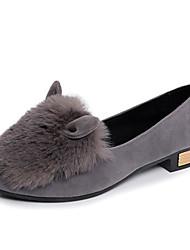 Women's Heels Spring Summer Fall Comfort Suede Fur Dress Casual Flat Heel Others Black Brown Gray Walking