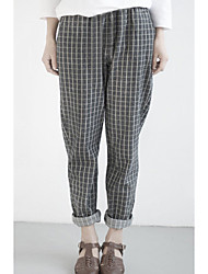 Women's Check Black Chinos Pants,Vintage / Simple
