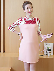 Maternity Casual/Daily Simple Loose Dress,Striped Round Neck Above Knee Long Sleeve Pink Polyester Summer