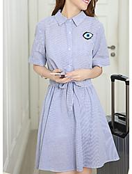 Women's Plus Size / Going out /Cute Shirt Dress,Striped Shirt Collar Above Knee ½ Length Sleeve Blue Cotton Summer