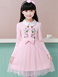 Girl's Cotton Spring/Autumn Flower Princess Girl's Dress Elegant Long Sleeve Lace Party Wedding Birthday Tutu Dresses