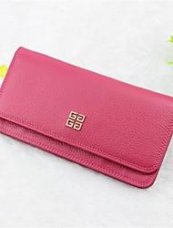 Women Wallet Cowhide Casual Fuchsia Blushing Pink