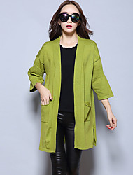 Women's Going out Simple Regular Cardigan,Solid Red / Black / Gray / Green V Neck ¾ Sleeve Cashmere / Polyester Fall