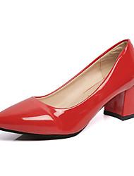 Damen-High Heels-Lässig-PU-Blockabsatz-Spitzschuh-Schwarz / Rosa / Rot