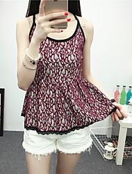 Women's Casual/Daily Street chic Spring / Summer Tank Top,Print Strap Sleeveless Red / Black Modal Medium