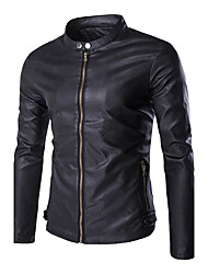 Men's Slim Stand Collar Motorcycle Leather Jacket,PU / Polyester Solid Black / Brown
