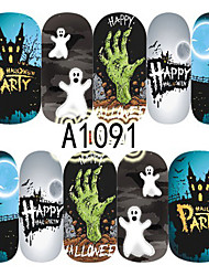 1pcs Nail Art Halloween Sticker Haunted House Skull Flower DIY Nail Art Decoration A1091-1095