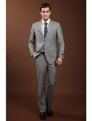 2017 Suits Slim Fit Notch Single Breasted Two-buttons Wool Solid 2 Pieces Gray Straight Flapped