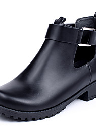 Women's Shoes Boots Spring/Fall/Winter Bootie/Combat Boots/Round Toe Casual Low Heel Buckle Black
