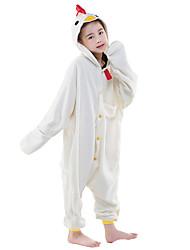 Kigurumi Pijamas New Cosplay® / Galo/Galinha Malha Collant/Pijama Macacão Festival/Celebração Pijamas Animal Branco Cor Única Lã Polar