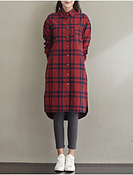 Women's Casual/Daily Street chic Fall Shirt,Print Shirt Collar Long Thin Sleeve Red Cotton Medium