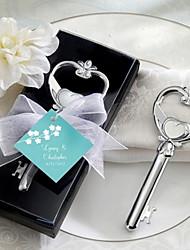 Chrome Key to My Heart Wine Bottle Opener Wedding Favors
